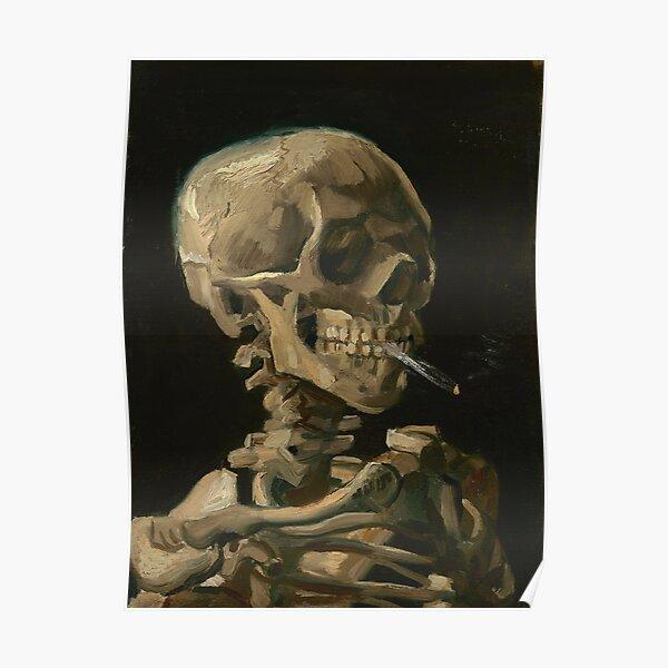 Cráneo de un esqueleto con cigarrillo encendido Póster