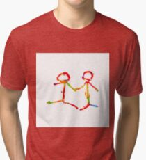happy couple holding hands in red yellow blue green Tri-blend T-Shirt