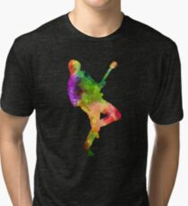 Watercolor Splash Love Guy Rocking Out With Guitar Tee Shirt Tri-blend T-Shirt