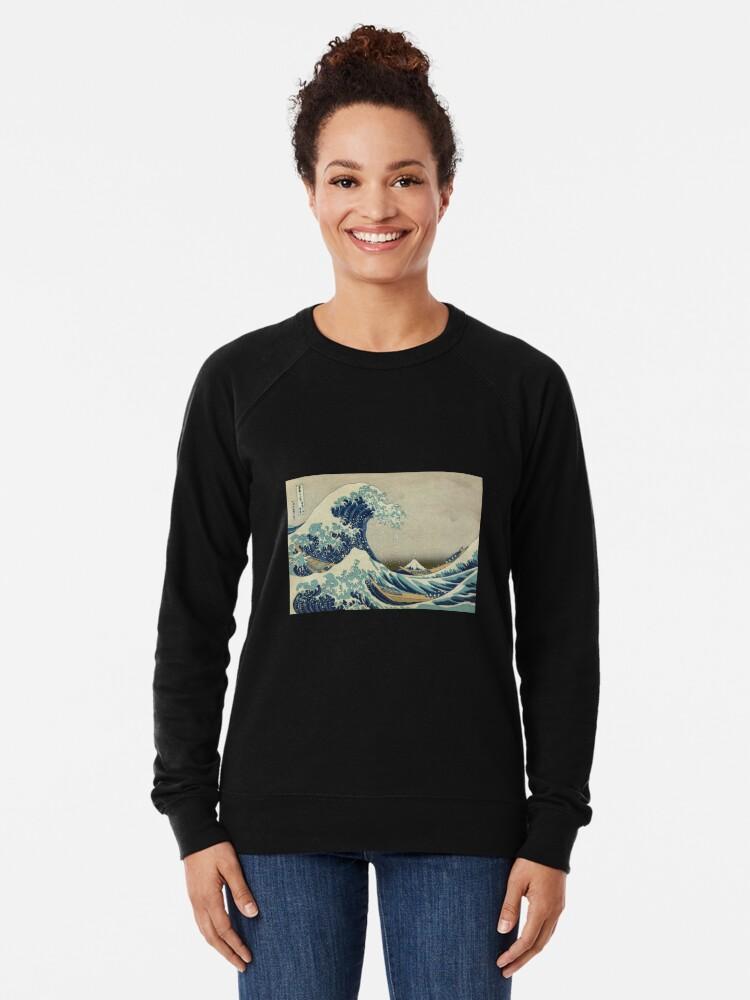 Alternative Ansicht von Die große Welle vor Kanagawa Leichtes Sweatshirt
