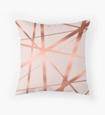 Pink and Copper Luxe Throw Pillow