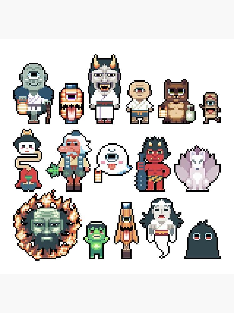 Pixel Yokai Ghosts Monsters Spirits Poster