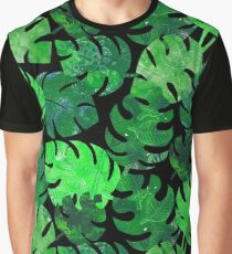 Tropical leaves - jungle green on black Graphic T-Shirt