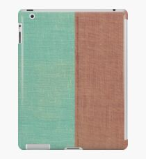 Faded Turquoise & Brown Linen Material Texture iPad Case/Skin