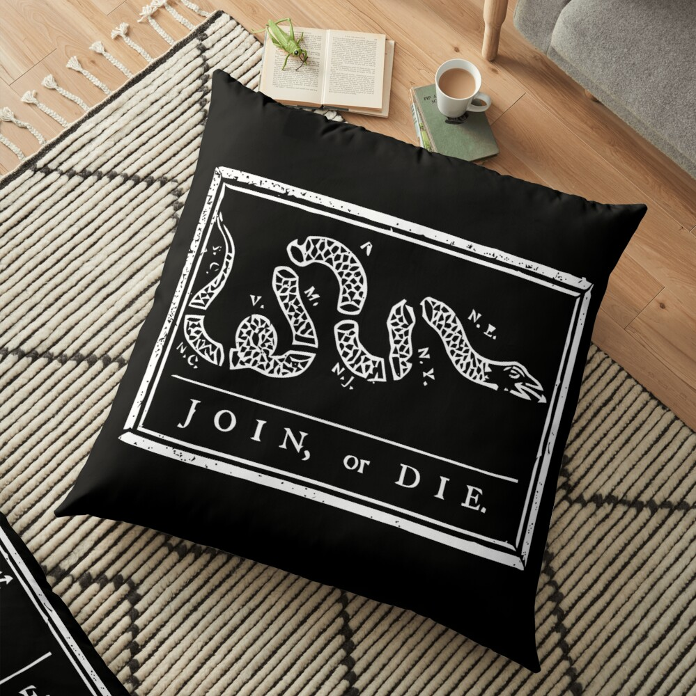 Join Or Die Black And White Floor Pillow