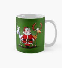 Santa, reindeer, unicorn Mug