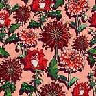 Romantic Reds and Peach Foral by ariellemorris
