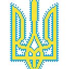Ukrainian Tryzub with embroidery effect by Denys Golemenkov