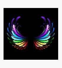 Rainbow Wings on Black background Photographic Print