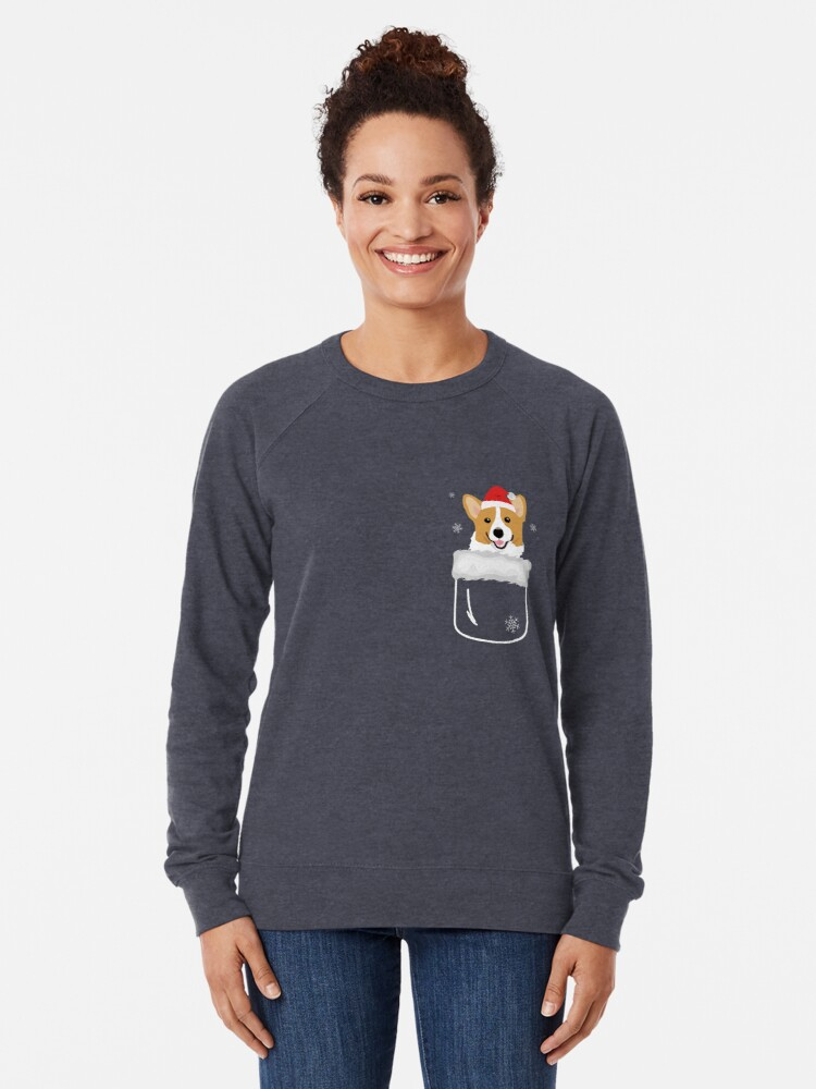 Alternate view of Corgi In Your Front Pocket Funny Christmas Costume Lightweight Sweatshirt