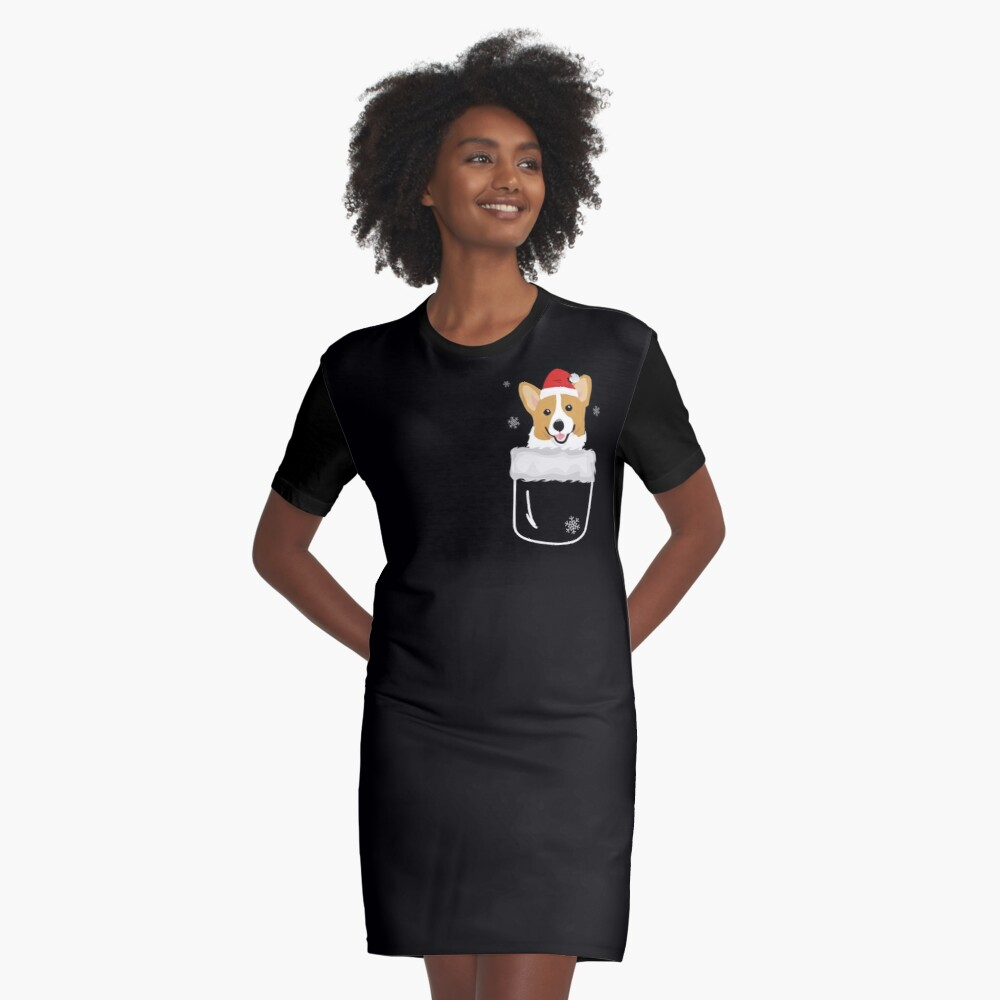 Corgi In Your Front Pocket Funny Christmas Costume Graphic T-Shirt Dress