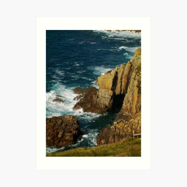 Cliffs and sea spray, Lands End, UK Art Print