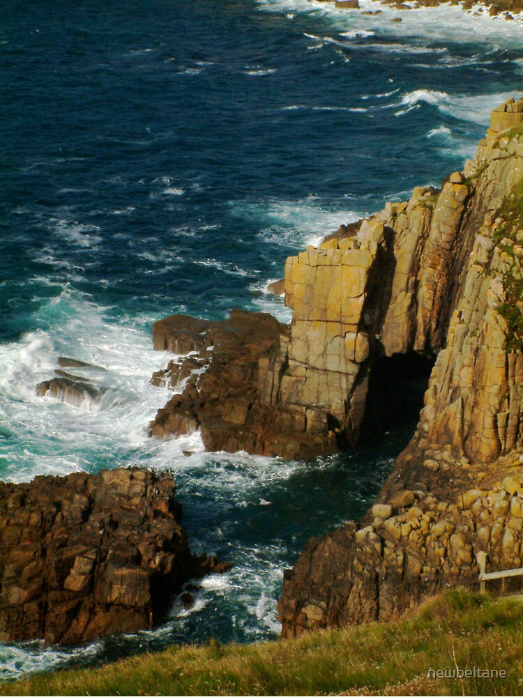 Cliffs and sea spray, Lands End, UK by newbeltane
