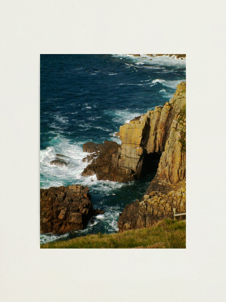 Alternate view of Cliffs and sea spray, Lands End, UK Photographic Print