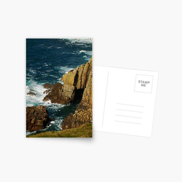 Cliffs and sea spray, Lands End, UK Postcard