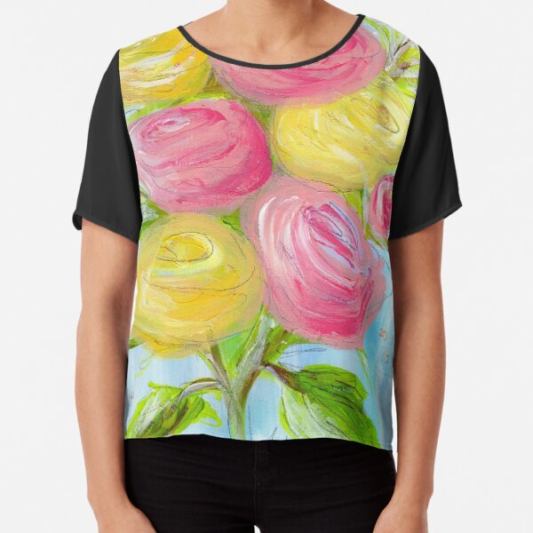 A Vintage Romance Abstract Roses Painting Prints Chiffon Top