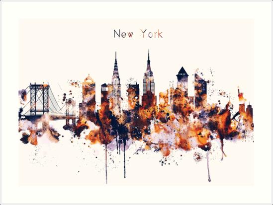 NYC New York Skyline Poster Art Print by IvonDesign