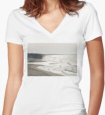 Tiny People on Vast Beach Women's Fitted V-Neck T-Shirt