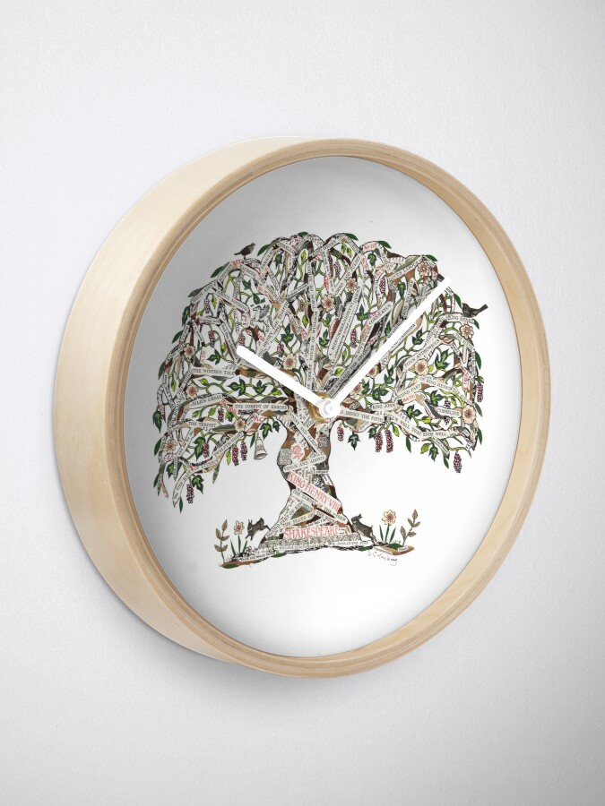Vista alternativa de Reloj Árbol de Shakespeare por el arte de Sue Trickey