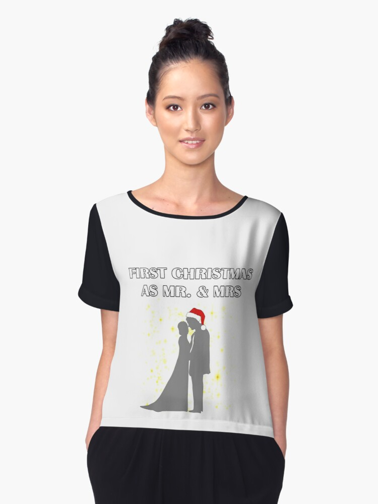first christmas as mr and mrs perfect gift for husband wife or couples womens chiffon top