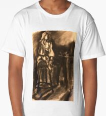 Charcoal abstract figure on stool  Long T-Shirt