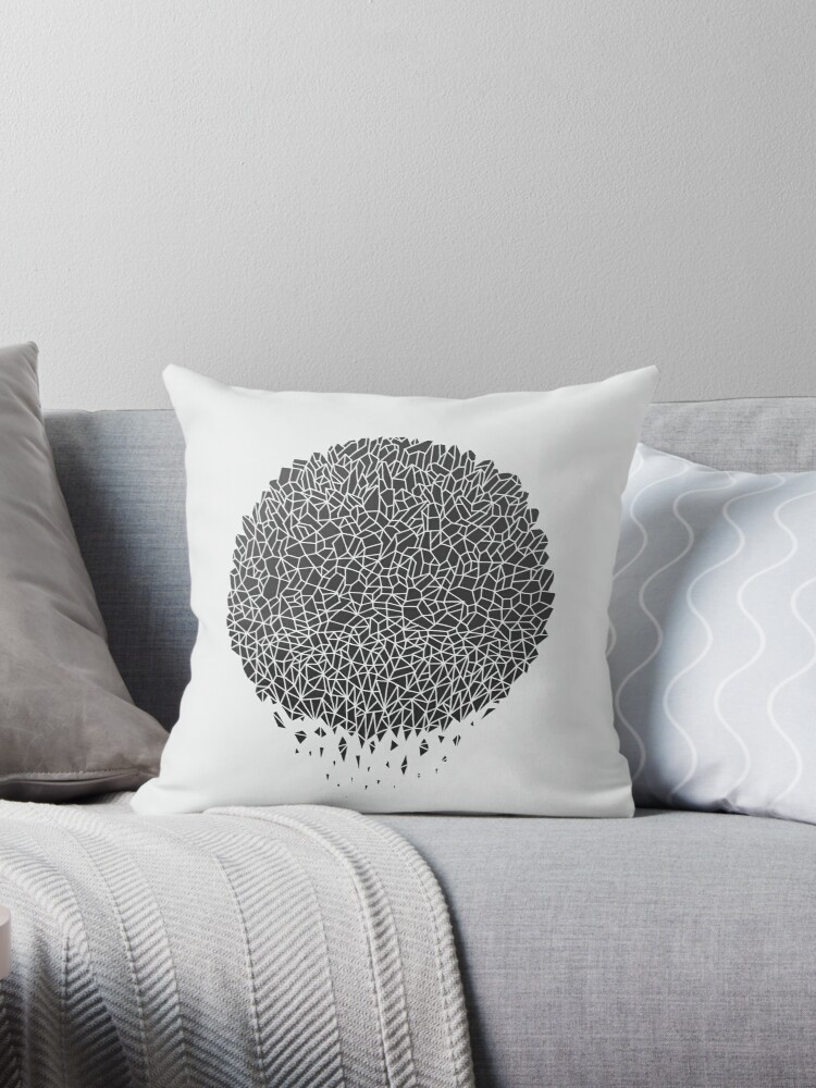 Black Sphere Throw Pillow By Thepapercrane Redbubble