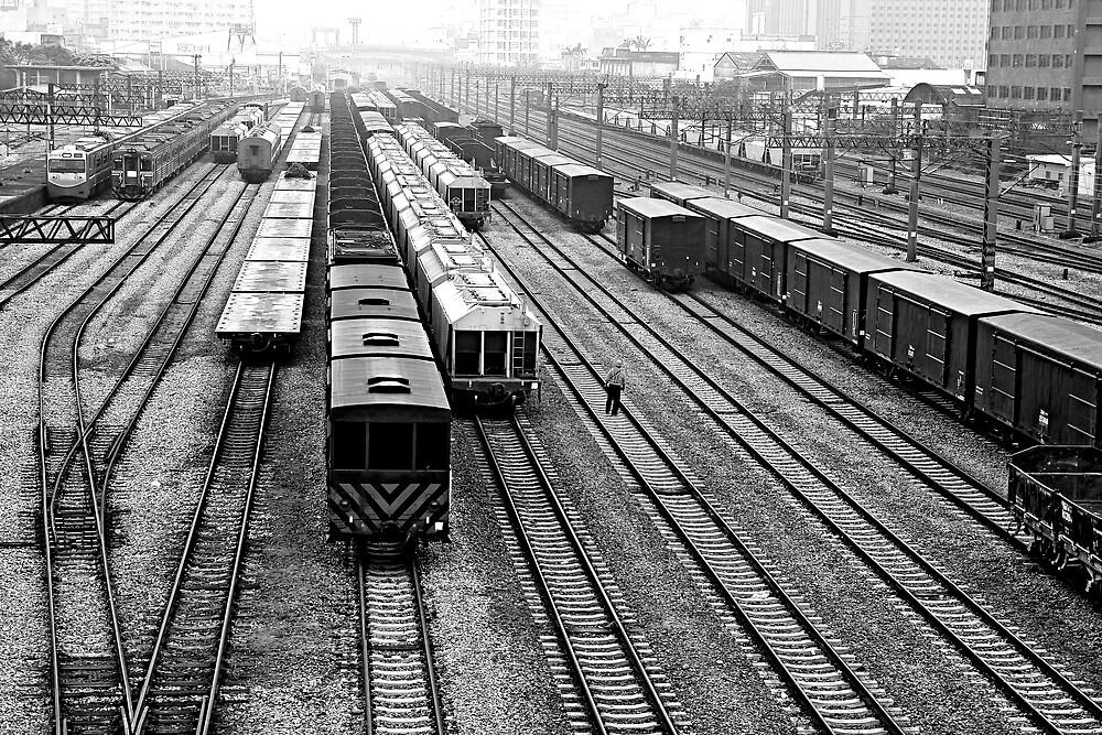 Train Yard in Hsinchu by Jeff Harris