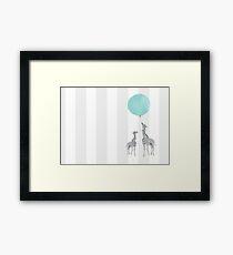 Baby Boy Blue Balloon Giraffes  Framed Print