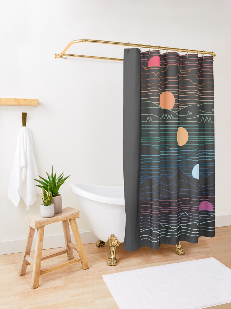 Alternate view of Many Lands Under One Sun Shower Curtain