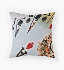 Man cave - deck of cards/royal flush Throw Pillow