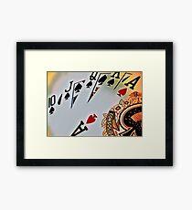 Man cave - deck of cards/royal flush Framed Print