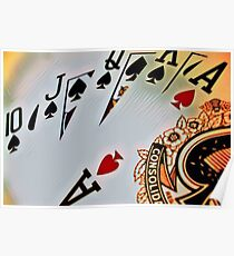 Man cave - deck of cards/royal flush Poster