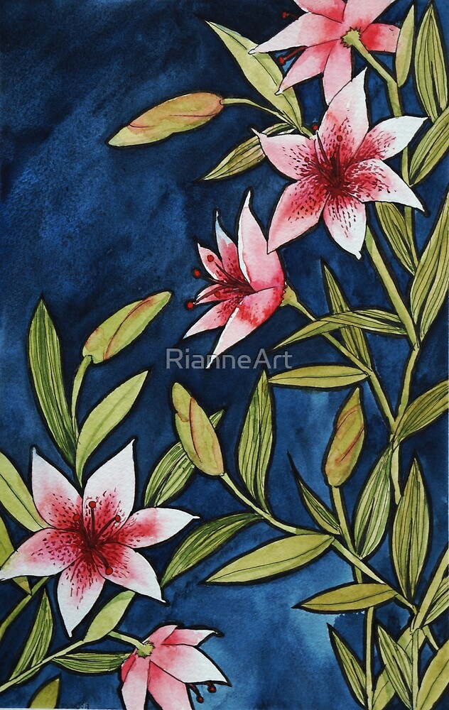 Lily on blue by RianneArt