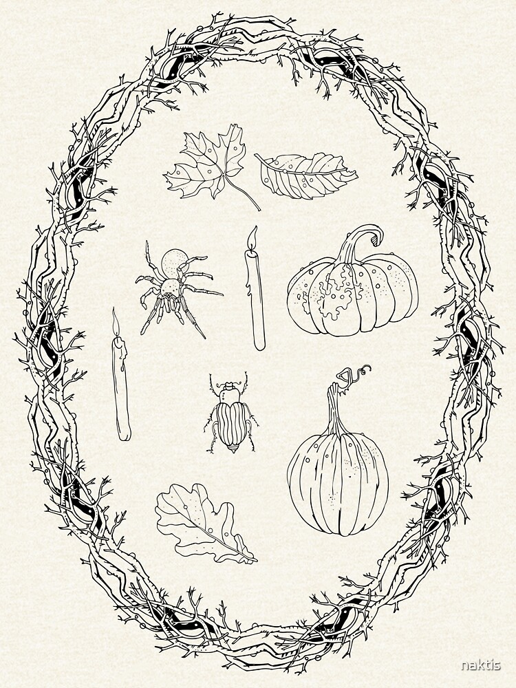 Black & white autumn wreath branches frame with Halloween symbols. by naktis