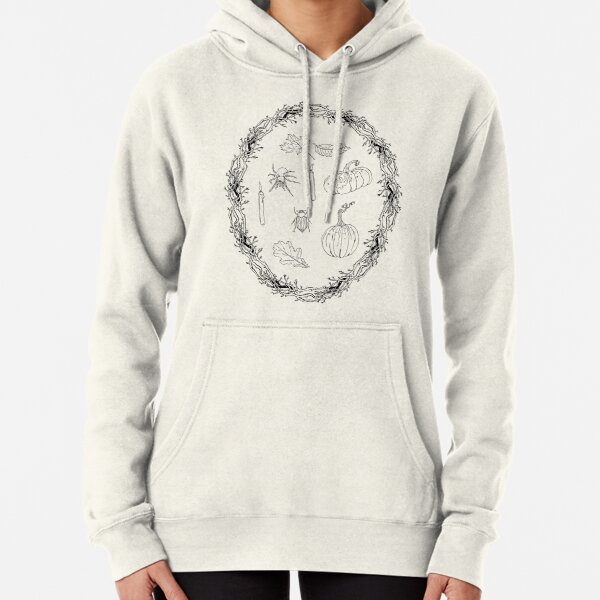 Black & white autumn wreath branches frame with Halloween symbols. Pullover Hoodie