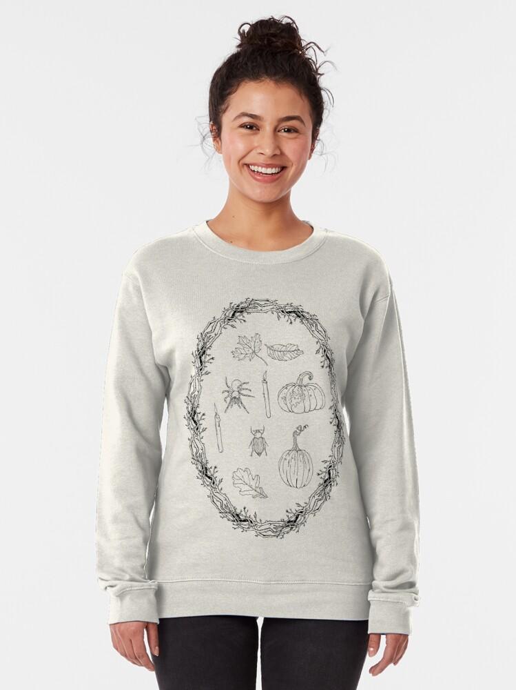 Alternate view of Black & white autumn wreath branches frame with Halloween symbols. Pullover Sweatshirt