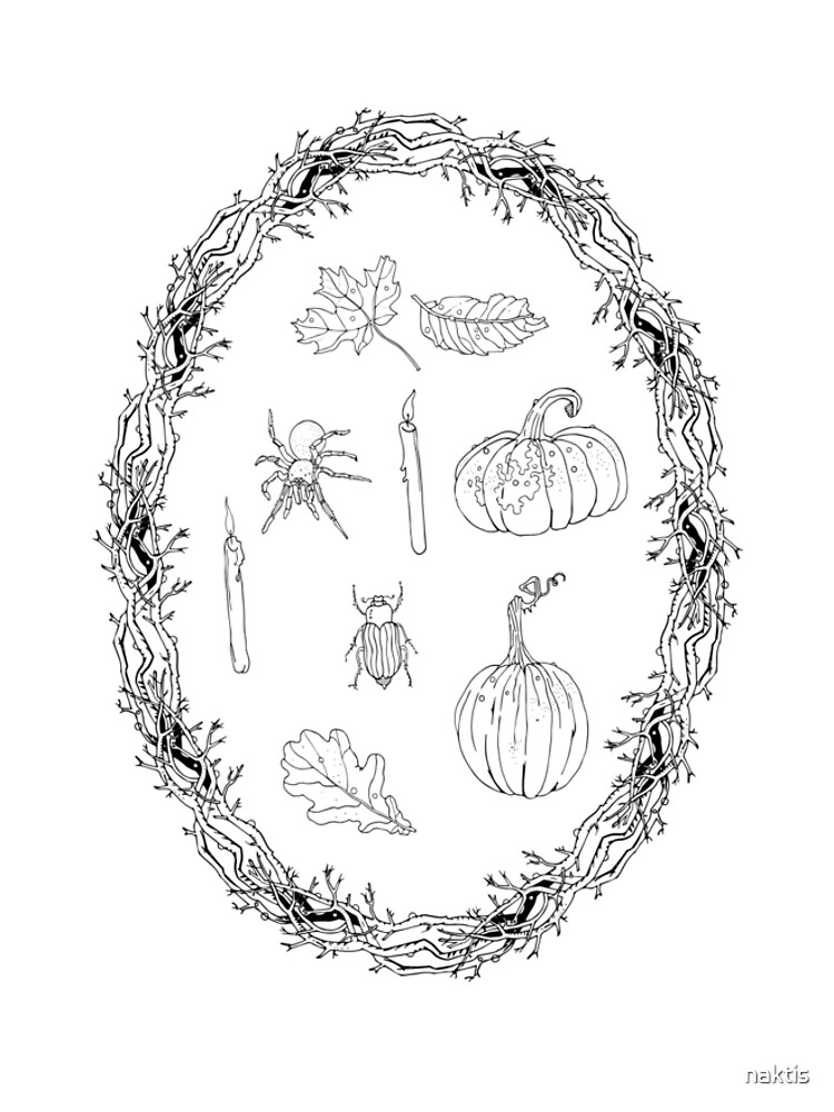 Black & white autumn wreath branches frame with Halloween symbols. by naktis