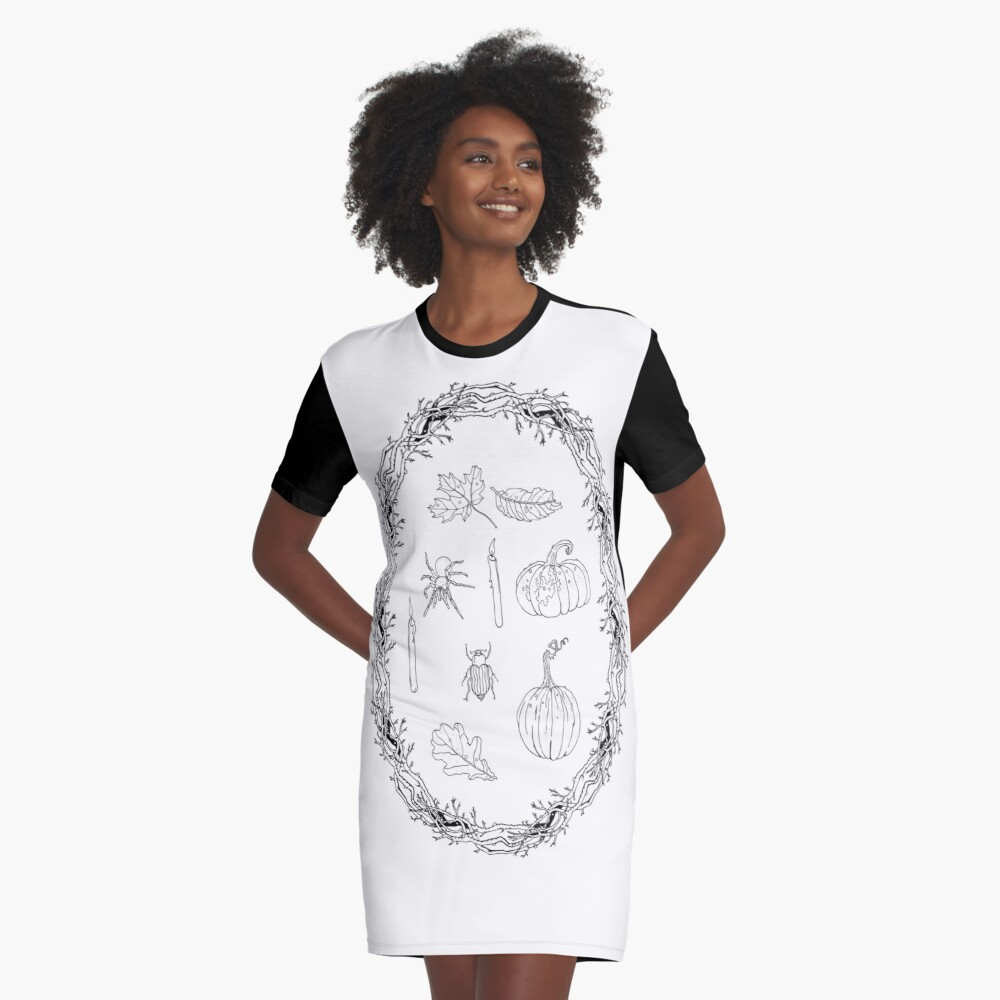 Black & white autumn wreath branches frame with Halloween symbols. Graphic T-Shirt Dress