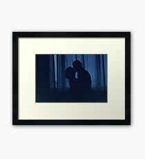 Blue silhouette couple kissing analogue film photograph Framed Print