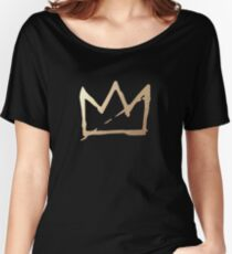 GOLD BASQUIAT CROWN Women's Relaxed Fit T-Shirt