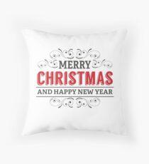 Merry Christmas Typography Decorative Design  Throw Pillow