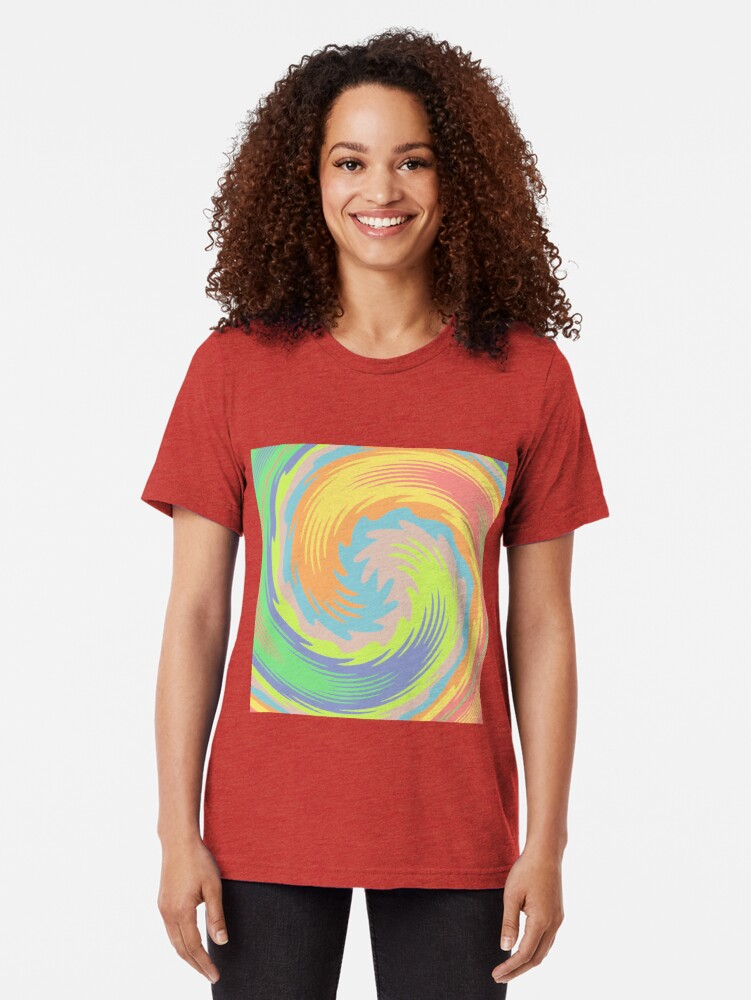 Alternate view of Abstract Twirl Wave Tri-blend T-Shirt