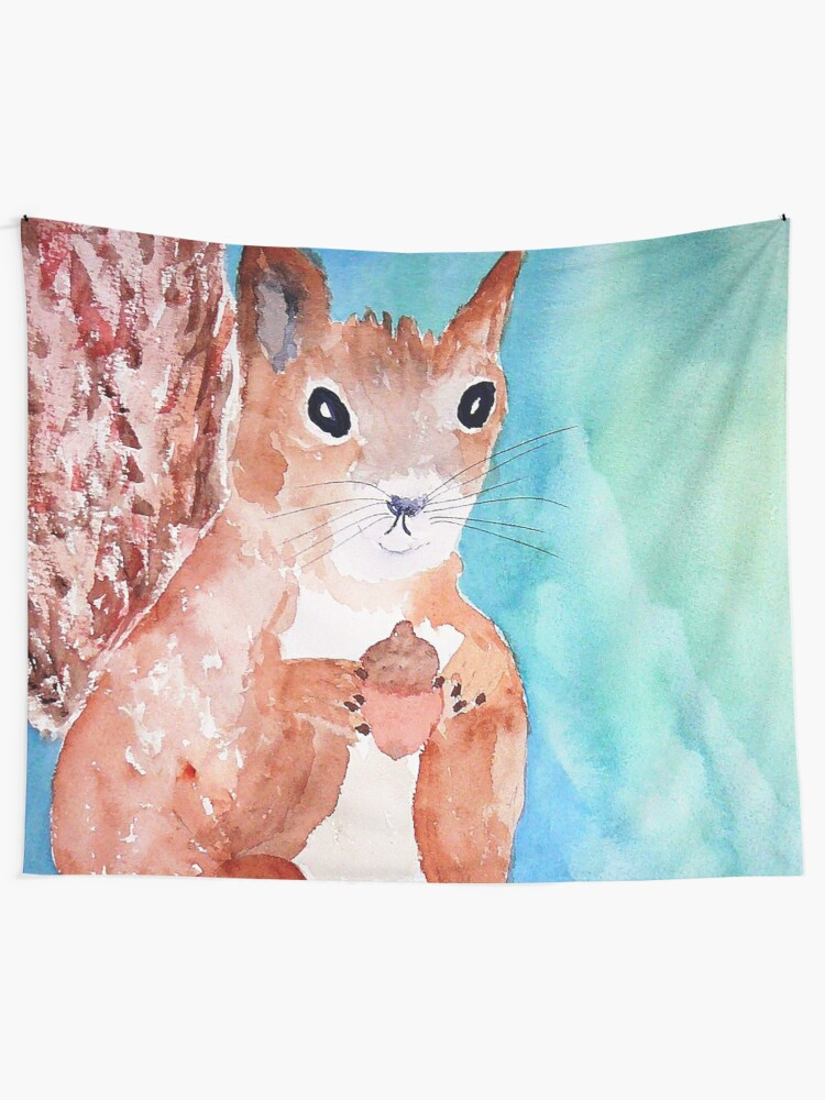 Alternate view of Red Squirrel Tapestry