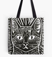 Cat Portrait Lino Print Tote Bag