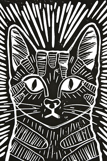 Quot Cat Portrait Lino Print Quot Photographic Prints By Adam