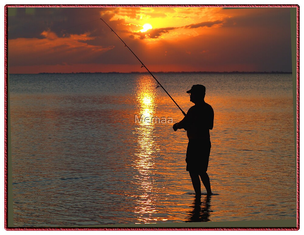 Bob Fishing at Sundown by Memaa