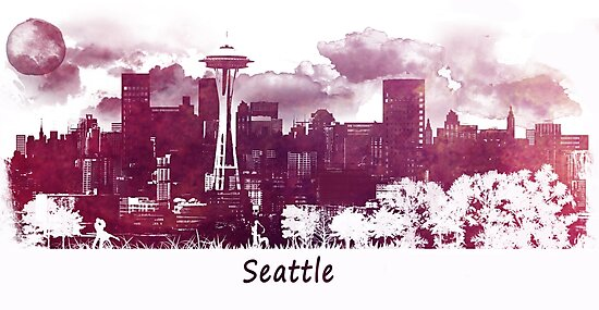 Seattle Washington skyline by JBJart