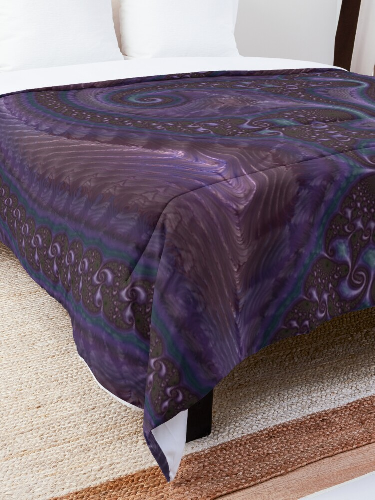 Alternate view of Purple Fractal Comforter