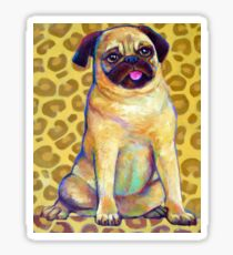 Funky Pug With Cheetah Print Sticker