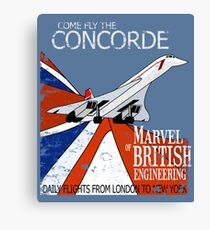 Come Fly The Concorde | Marvel of British Engineering Vintage Poster Design Canvas Print